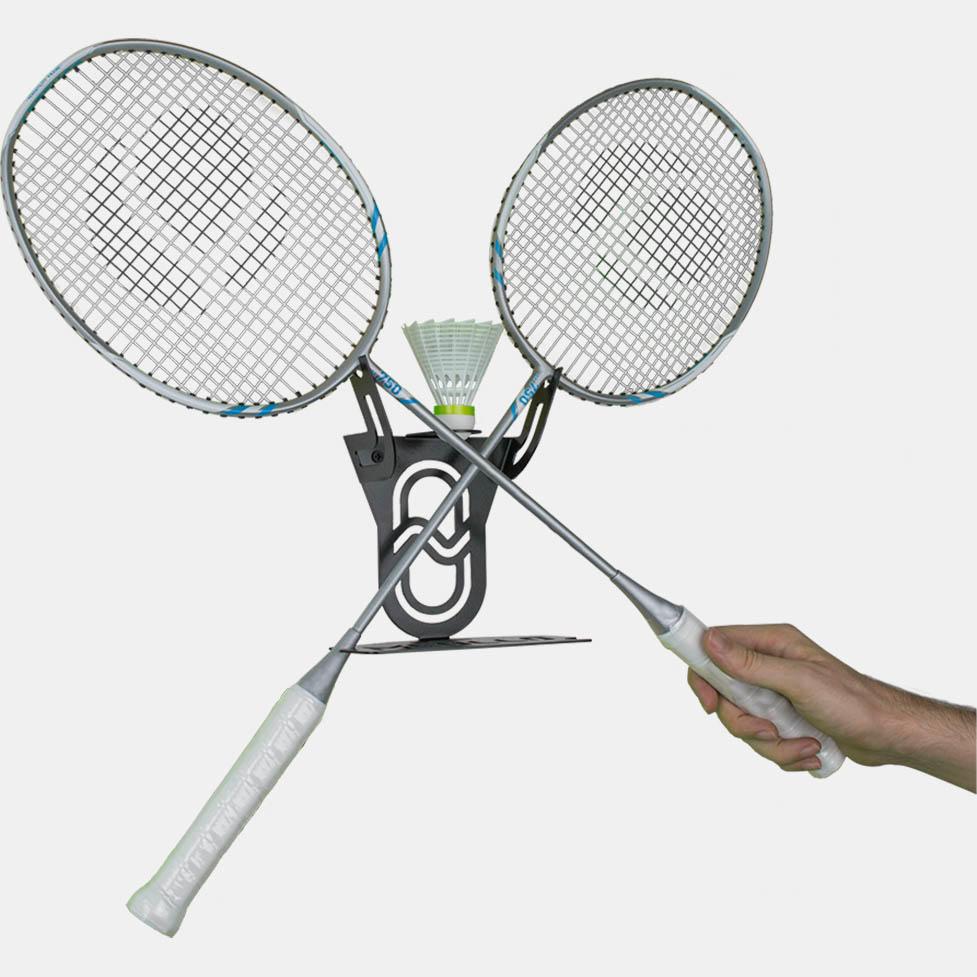 soporte y colgador de badminton
